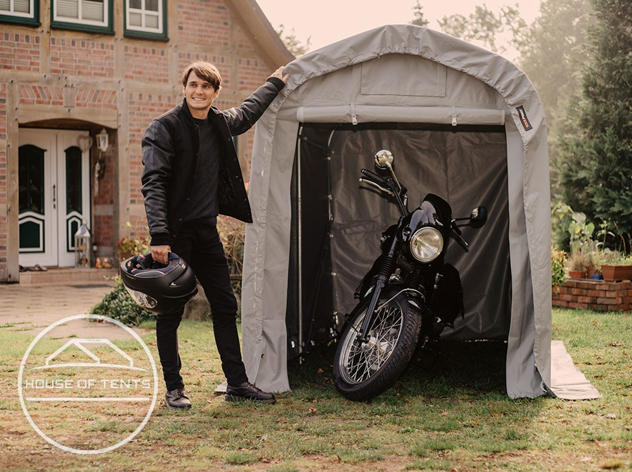 Portable tool sheds as weatherproof shelter for small vehicles
