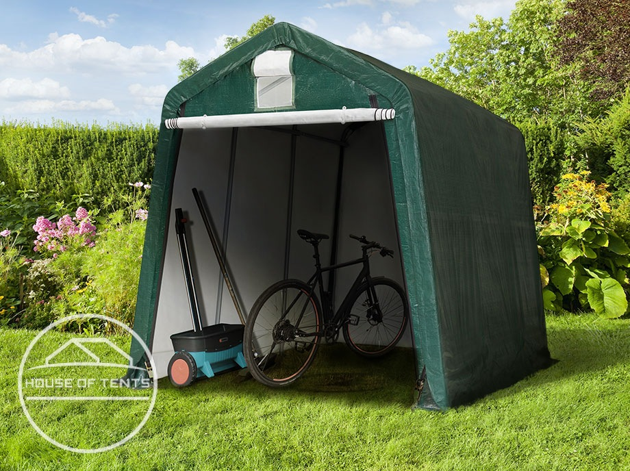Space-saving tool tents as year-round bike shelters