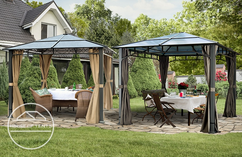 High-quality gazebos with a hardtop roof