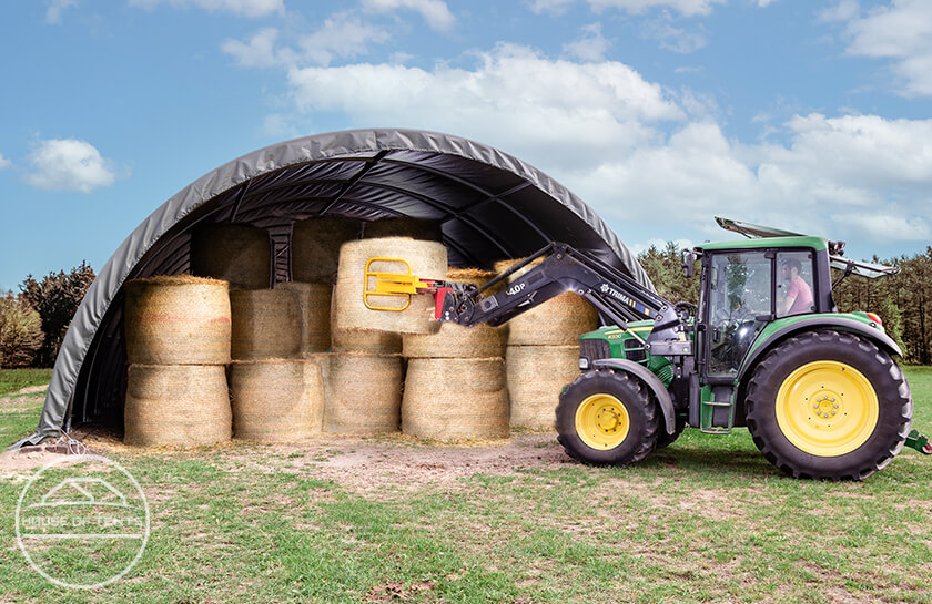 Stable arched shelters as ideal hay storage buildings