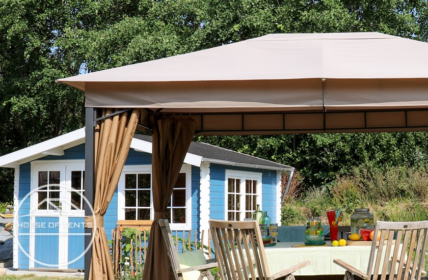 Professional garden gazebo with polyester roof