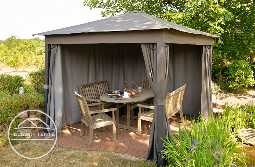 UV-resistant garden gazebo with soft-top roof