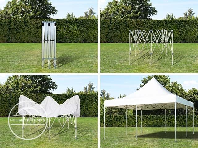 Assembling a 3x3 m gazebo in four steps.